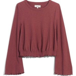 Madewell smocked bell sleeve top in Autumn Berry
